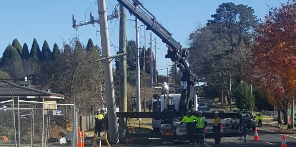 Power pole relocation services